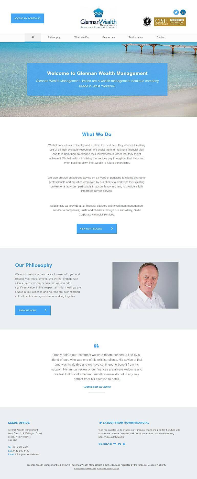 Previous Website For Glennan Wealth Management Ltd